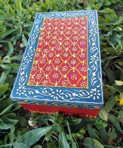 Box Wooden Jewelry Hand Painted Handmade Flower Balinese Home Decor Indian Floral Trinket Velvet Treasure Chest