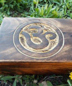 Box Wooden Om Symbol Indian Yoga Meditation Protection Handmade Mango Tree Wood Trinket Chest