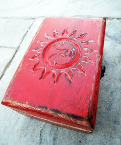 Box Wooden Sun Symbol Sign Jewelry Carved Handmade Solar Home Decor Mango Tree Wood Trinket Treasure Chest Eco Friendly