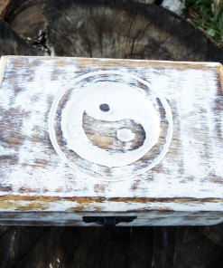 Box Wooden Yin Yang Symbol Balance Chinese Jewelry Carved Handmade Home Decor Mango Tree Wood Trinket Treasure Chest Eco Friendly