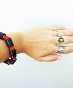 Bracelet Basalt Lava Rock Handmade Red Coral Strength Protection