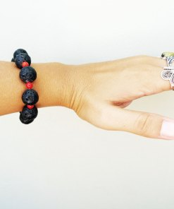 Bracelet Basalt Lava Rock Handmade Red Coral Strength Protection