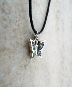 Butterfly Pendant Silver Sterling Abalone Handmade Seashell Shell 925 Necklace Wings Beach Sea Ocean
