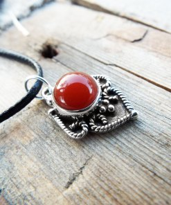 Carnelian Pendant Silver Necklace Sterling 925 Handmade Gemstone Stone Protection Gothic Antique Vintage Jewelry