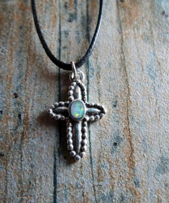 Cross Pendant Silver Opal Sterling 925 Handmade Gemstone Necklace Christian Religious Jewelry Crucifix Symbol 1