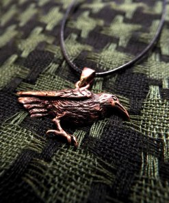Crow Raven Pendant Bronze Handmade Necklace Gothic Dark Magic Protection Jewelry
