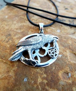 Crow Raven Pendant Silver Handmade Necklace Pentagram Gothic Bird Dark Magic Protection Jewelry