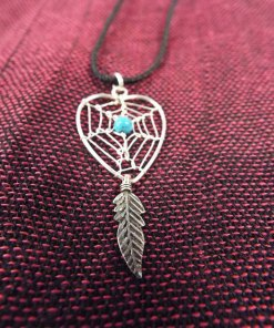 Dreamcatcher Pendant Heart Sterling Silver Handmade Necklace 925 Blue Turquoise Gemstone Indian Native American