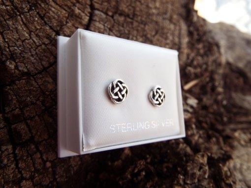 Earrings Celtic Knot Studs Silver Handmade Sterling Gothic Dark 925 Pattern Jewelry