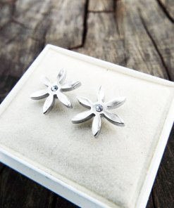 Earrings Flower Studs Silver Handmade Floral Zircon Spring Vintage Antique Stainless Steel Jewelry