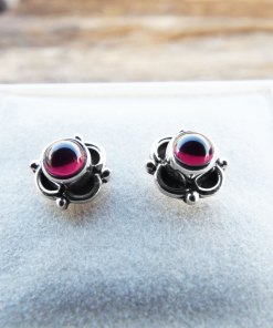 Earrings Garnet Studs Red Gemstone Silver Celtic Gothic Dark Handmade Sterling 925 Jewelry