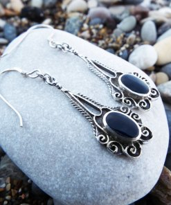 Earrings Onyx Gemstone Black Silver Handmade Sterling 925 Dangle Drop Jewelry Gothic Dark Antique Vintage