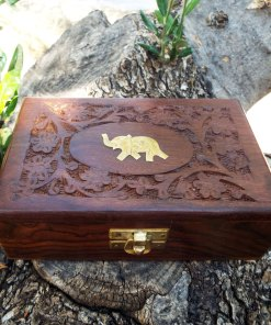 Elephant Box Indian Balinese Hindu Ganesha Floral Handmade Carved Flower Animal Symbol Trinket Jewelry Chest