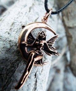 Fairy Pendant Handmade Moon Necklace Faerie Magic Pixie Bronze Gothic Dark Jewelry