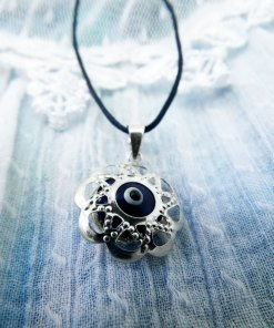 Flower Silver Pendant Greek Evil Eye Floral Sterling 925 Protection Handmade Necklace Jewelry