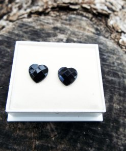Heart Earrings Studs Black Austrian Crystal Stone Silver Handmade Gothic Dark Jewelry Love Valentine