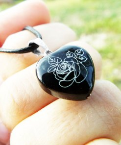 Heart Pendant Rose Flower Silver Black Onyx Gemstone Handmade Sterling 925 Love Necklace Jewelry Valentine