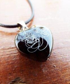 Heart Pendant Rose Flower Silver Black Onyx Gemstone Handmade Sterling 925 Love Necklace Jewelry Valentine