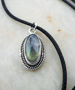 Labradorite Pendant Silver Handmade Gemstone Necklace Sterling 925 Drop Stone Oval Gothic Dark Antique Vintage Jewelry