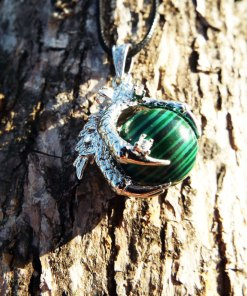 Malachite Pendant Green Gemstone Dragon Silver Necklace Handmade Ball Gothic Dark Jewelry