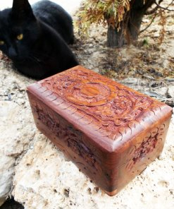 Moon Triple Goddess Celtic Box Handmade Pagan Symbol Wiccan Floral Magic Mango Tree Wood Indian Balinese Trinket Chest Carved Gothic Dark