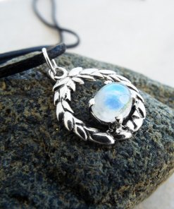 Moonstone Pendant Gemstone Silver Necklace Handmade Sterling 925 Bohemian Jewelry Protection