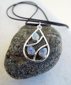 Moonstone Pendant Silver Handmade Necklace Sterling 925 Gemstone Stone Gothic Dark Antique Teardrop Tear Vintage Jewelry