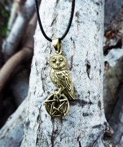 Owl Pendant Pentagram Handmade Necklace Wisdom Celtic Gothic Dark Wiccan Magic Jewelry