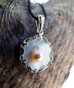 Pearl Pendant Blister Button Pearl Necklace Sterling 925 Silver Handmade Jewelry Sea Ocean Beach