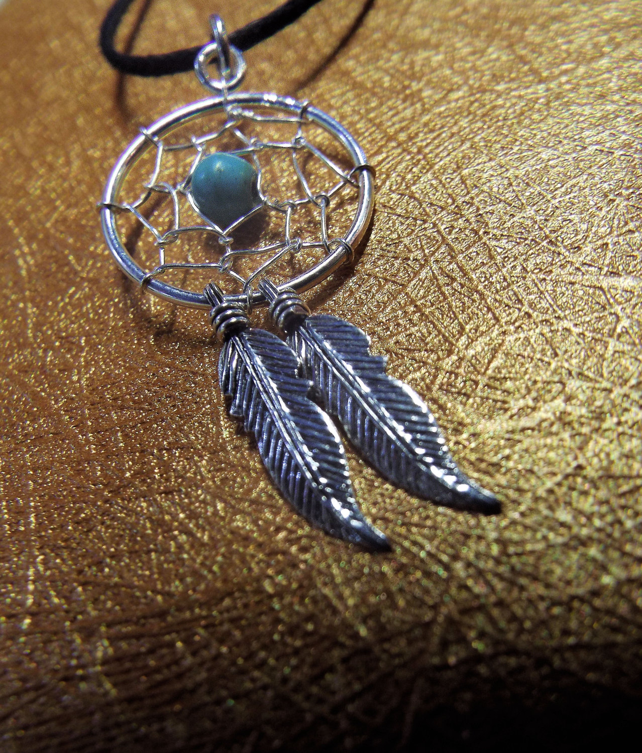 Feathers Turquoise Dreamcatcher 925 Sterling Silver Dream Catcher Necklace