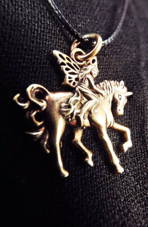 Pendant Fairy Unicorn Necklace Handmade Jewelry Bronze Beautiful Mystic Fantasy Faerie Magic