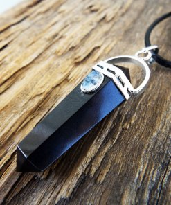 Pendulum Onyx Moonstone Pendant Silver Handmade Gemstone Necklace Stone Gothic Magic Dark Wicca Jewelry
