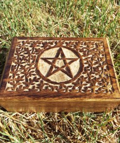 Pentagram Box Star Wiccan Magic Witch Handmade Ritual Mango Tree Wood Eco Friendly Floral Carved Gothic Dark Jewelry Box Chest Trinket
