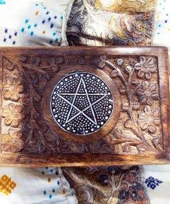 Pentagram Box Star Wiccan Magic Witch Handmade Ritual Mango Tree Wood Eco Friendly Floral Carved Gothic Dark Jewelry Box Chest Trinket