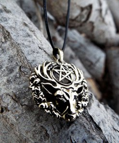 Pentagram Deer Pendant Hart of the Wildwood Symbol Handmade Necklace Gothic Dark Animal Symbol Wiccan Magic Star Bronze Jewelry