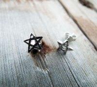 Pentagram Earrings Silver Studs Star Handmade Sterling 925 ...