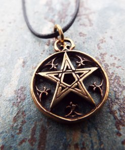 Pentagram Pendant Handmade Necklace Bronze  Gothic Wiccan Magic Pagan Jewelry Wicca