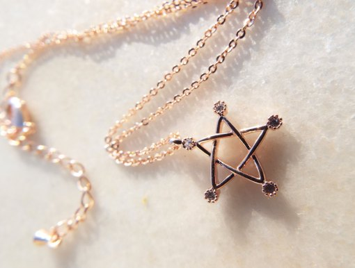 Pentagram Pendant Handmade Necklace Gothic Wiccan Magic Pagan Protection Jewelry Rose Stainless Steel