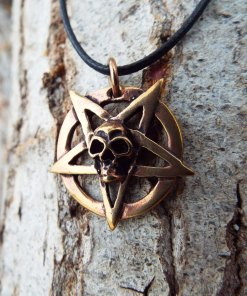Pentagram Pendant Skull Handmade Necklace Bronze Gothic Wiccan Magic Pagan Jewelry Wicca