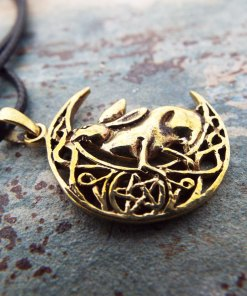 Rabbit Pendant Hare Handmade Necklace Pentagram Star Fertility Wicca Wiccan WItch Magic Jewelry