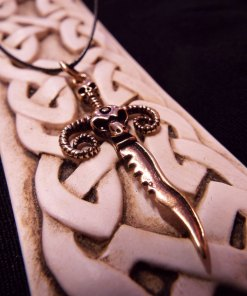 Ram Sword Pendant Skull Bronze Handmade Necklace Dark Gothic Devil Demon Power Aries Jewelry