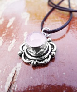 Rose Quartz Pendant Silver Handmade Flower Floral Necklace Antique Vintage Jewelry