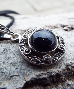 Sandstone Marcasite Pendant Silver Handmade Necklace Sterling 925 Gothic Gemstone Vintage Antique  Dark μεταγιον ασημι αμμόπετρα