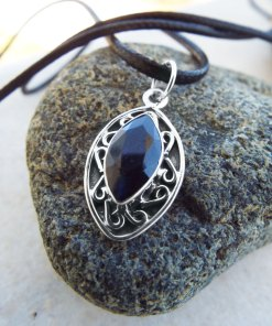 Sapphire Pendant Blue Silver Handmade Necklace Sterling 925 Jewelry Antique Vintage Gothic Dark Boho