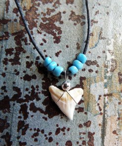 Shark Tooth Necklace Pendant Handmade Real Jewelry Sea Ocean Beach Tribal