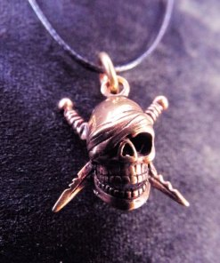 Skull Pendant Bronze Pirate Gothic Dark Necklace Jewelry Death Dagger Sword Corpse