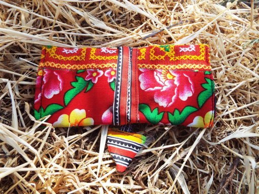 Tobacco Pouch Cotton Handmade Aztec Fabric Case Pocket Hand Stitched Hippie Boho
