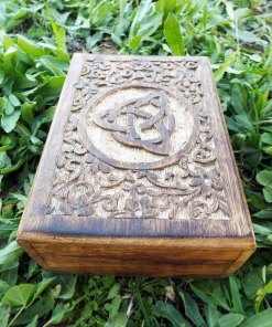 Triquetra Celtic Box Symbol Handmade Wooden Mango Tree Eco Friendly Indian Balinese Floral Trinket