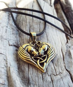 Unicorn Pendant Bronze Horse Triquetra Handmade Necklace Jewelry Fairytale Magic Spell Wish