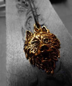 Wolf Pendant Bronze Handmade Necklace Jewelry Native American Indian